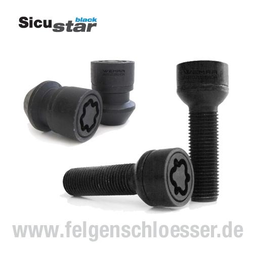 Felgenschloss M14x1,25 Länge 50mm SW 17 Sicustar Kegel 60°